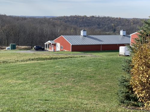 Large red metal barn in in field of green grass